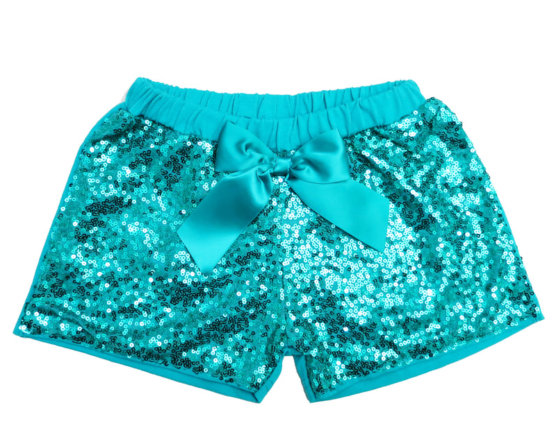 Turquoise Sequins Bow Shorts