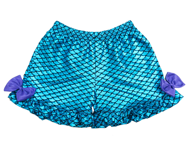 Blue Mermaid Fish Scale Bow Shorts For Dance/Gymnastic/Swimming