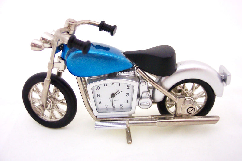 Blue Motorcycle Collectible Mini Clock