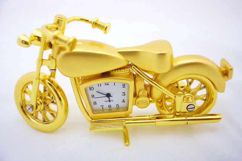 Gold Motorcycle Collectible Mini Clock