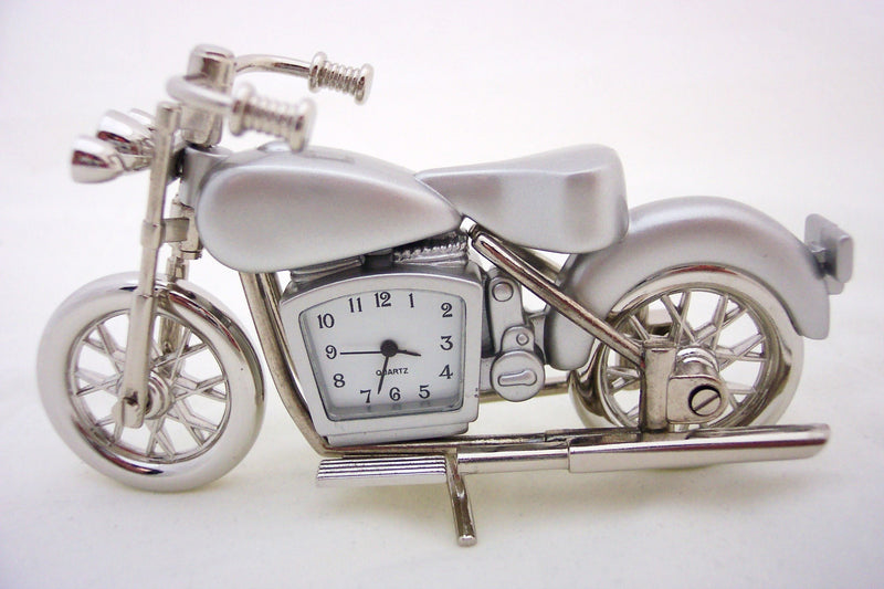 Silver Motorcycle Collectible Mini Clock
