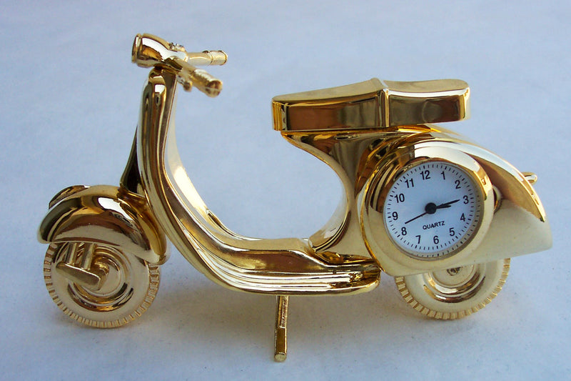 Gold Motor Scooter Collectible Mini Clock