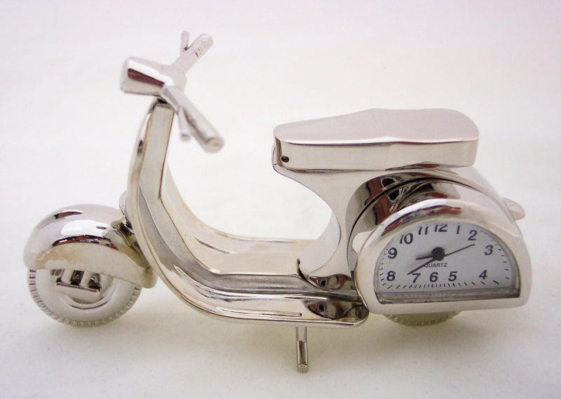 Silver Motor Scooter Collectible Mini Clock