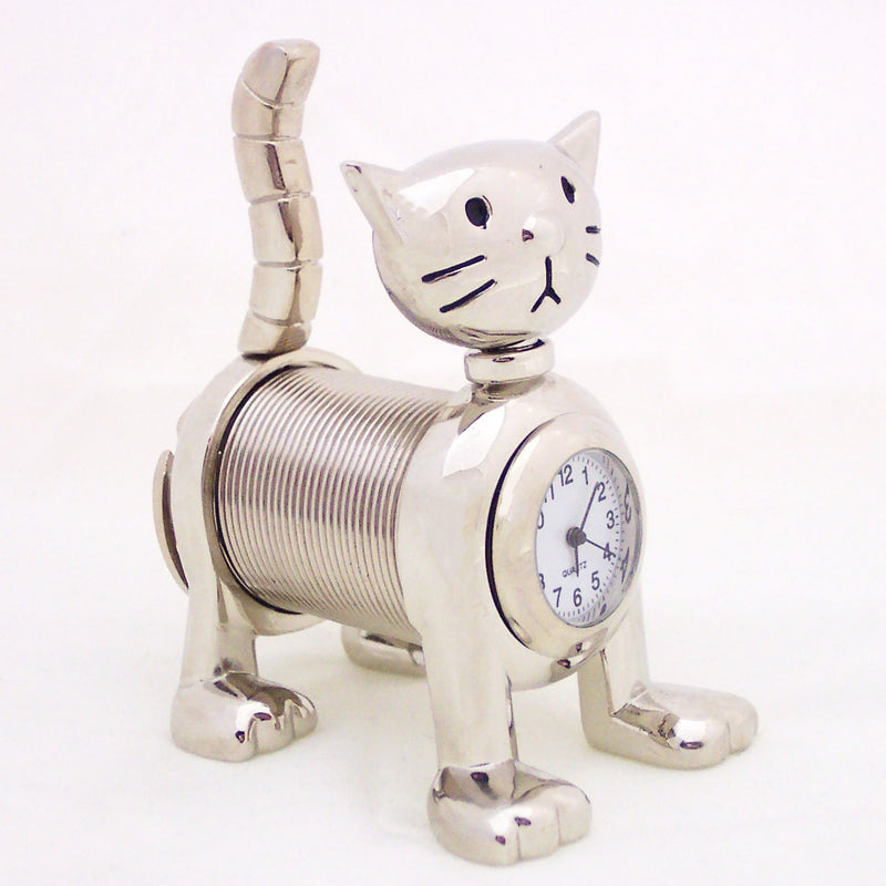 Silver Spring Cat Collectible Mini Clock