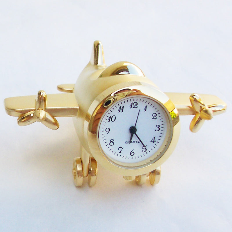 Gold 2 Engine Airplane Collectible Mini Clock