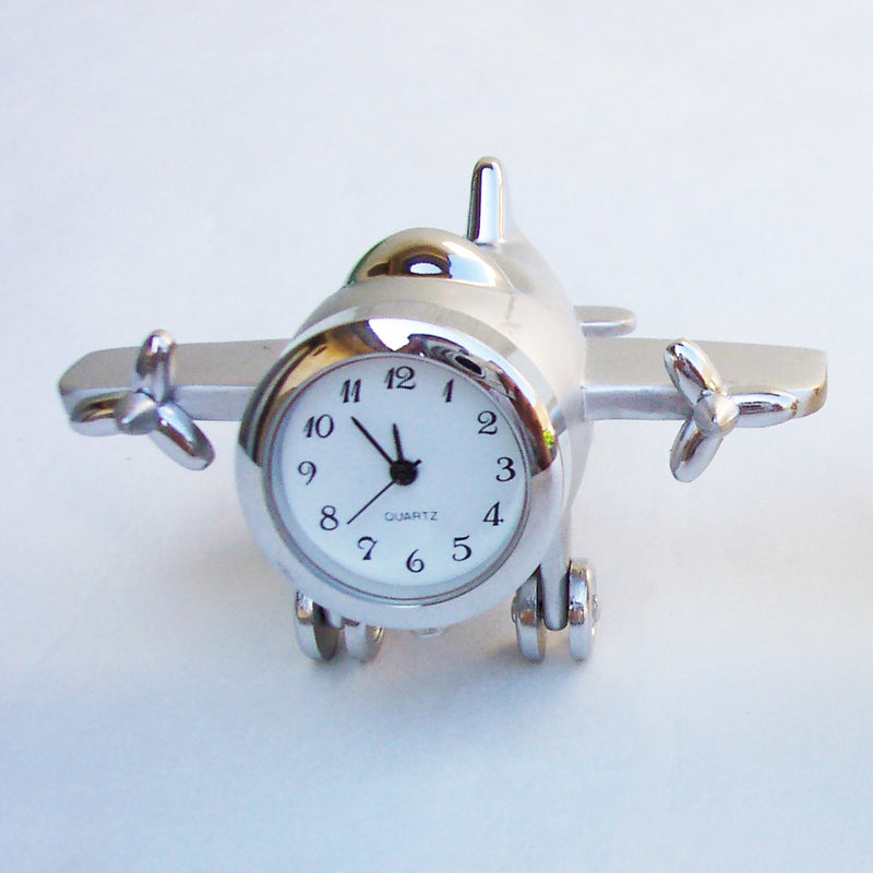 Sliver 2 Engine Airplane Collectible Mini Clock
