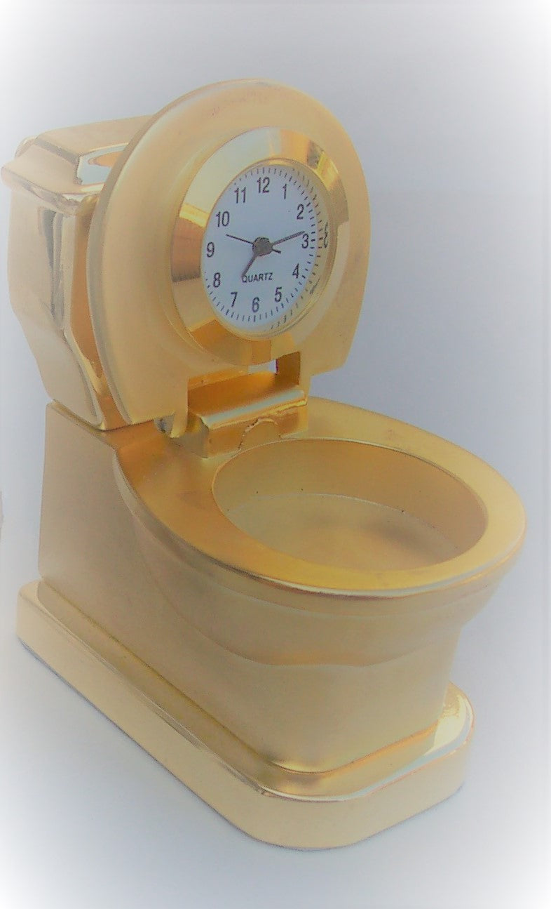 Gold Toilet Collectible Mini Clock