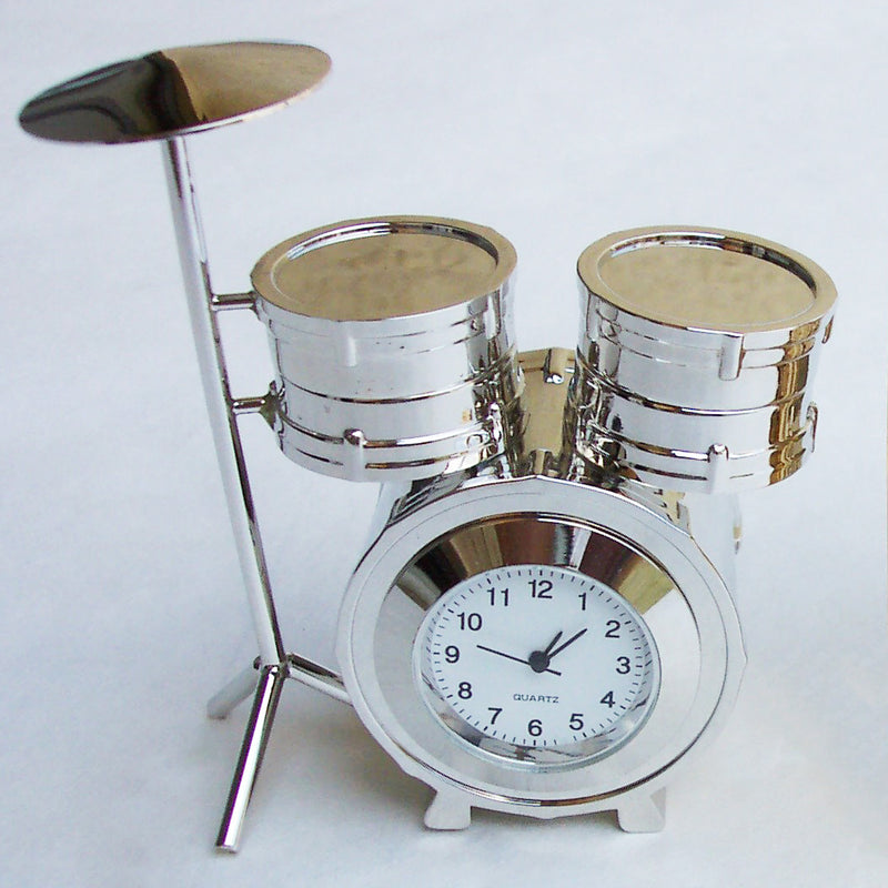 Silver Drum Set Collectible Mini Clock
