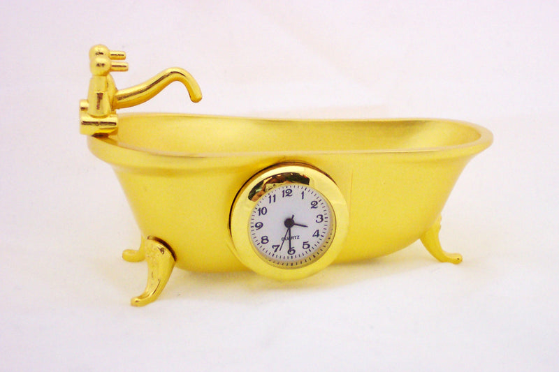 Gold Bathtub Collectible Mini Clock