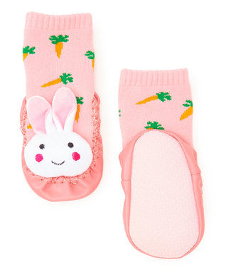 Pink/White Bunny Sound Sock Shoes