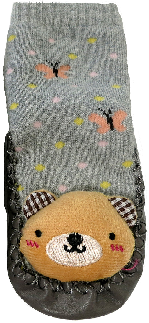 Gray Teddy Bear Sound Sock Shoes