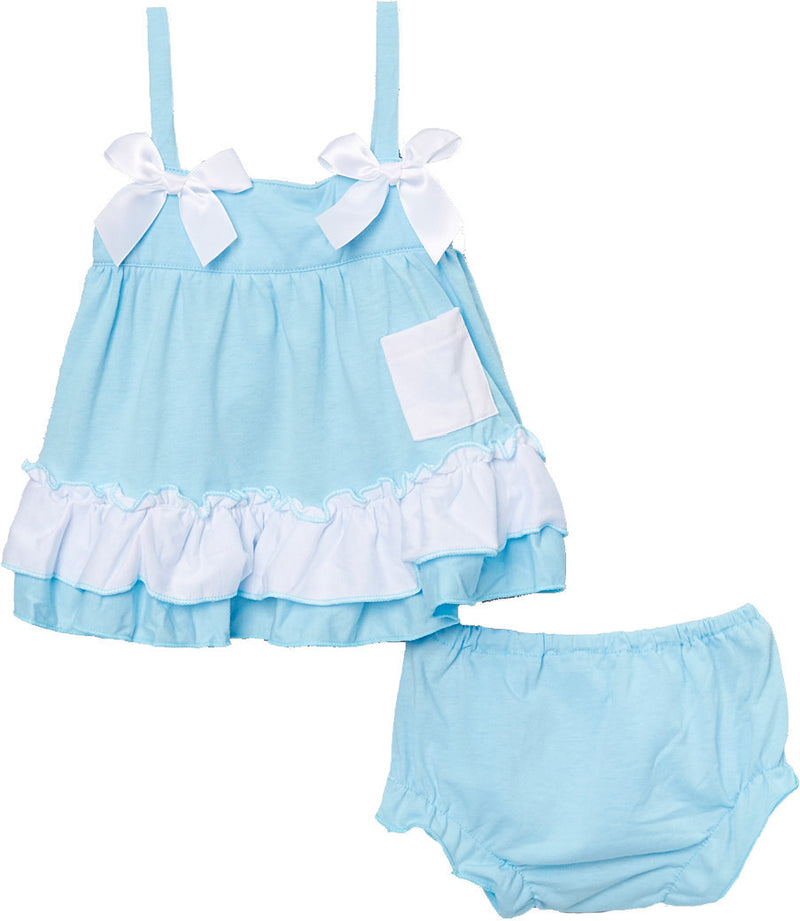 Baby Blue Cotton  Swing Top Set