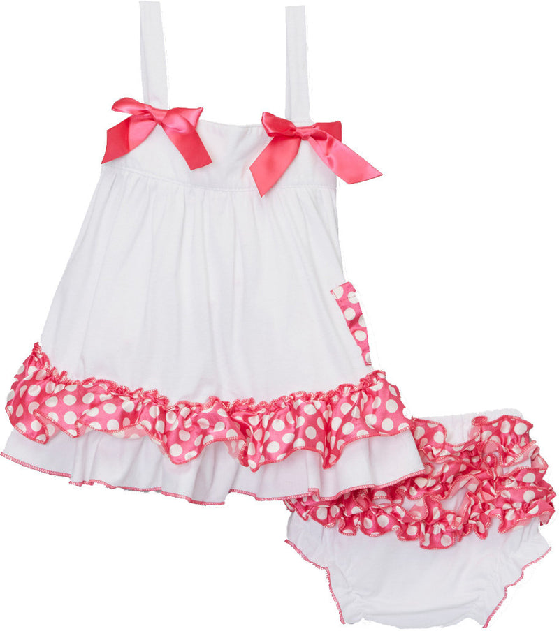 White Pink Dot Swing Top Set