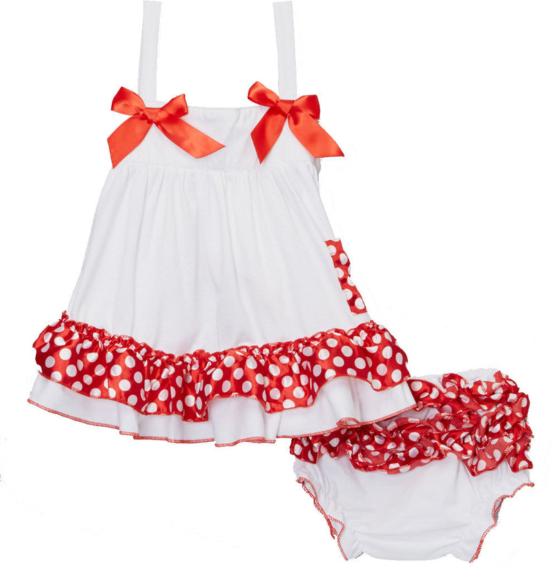 White Red Pocka Dot Swing Top Set
