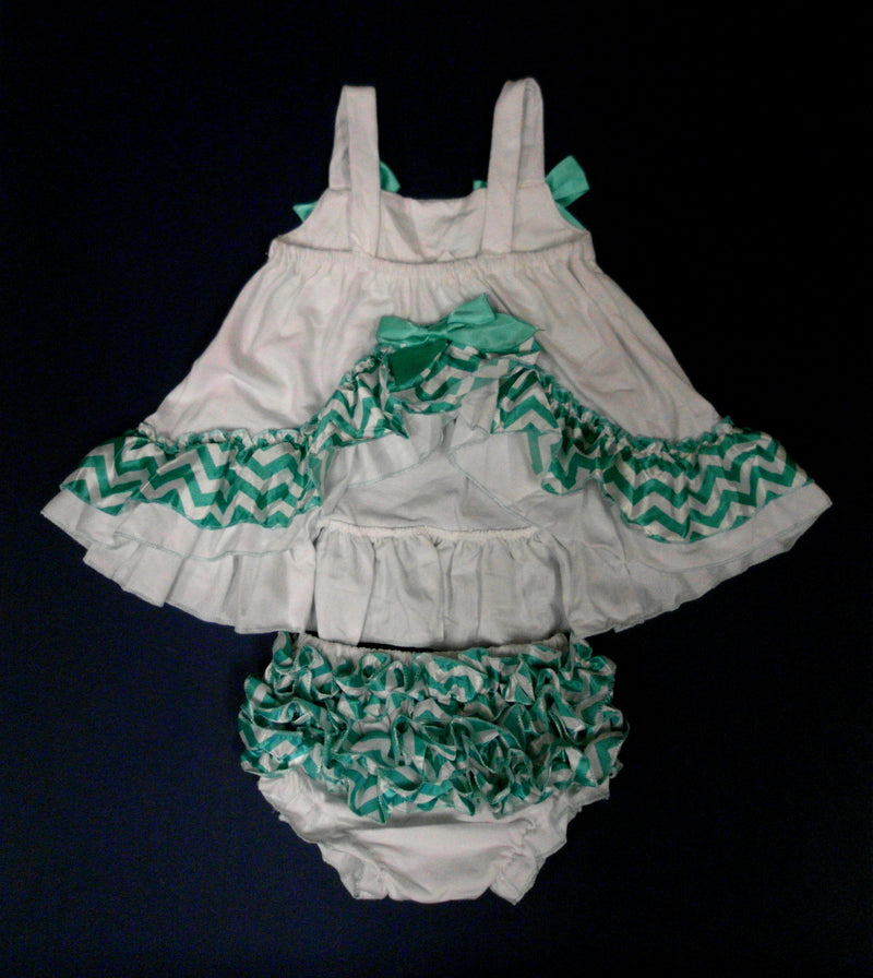 White Green Chevron  Swing Top Set