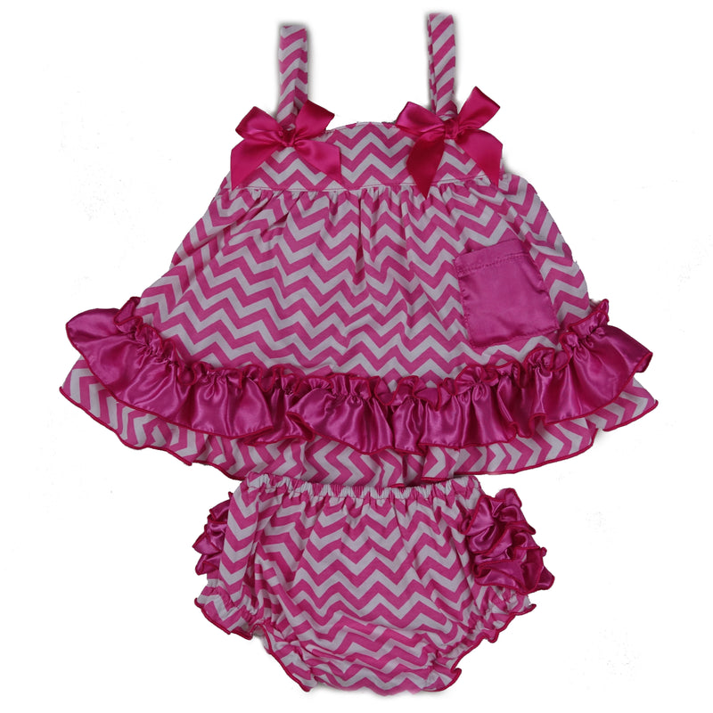 Hot Pink Chevron Swing Top Set Hot Pink Bow