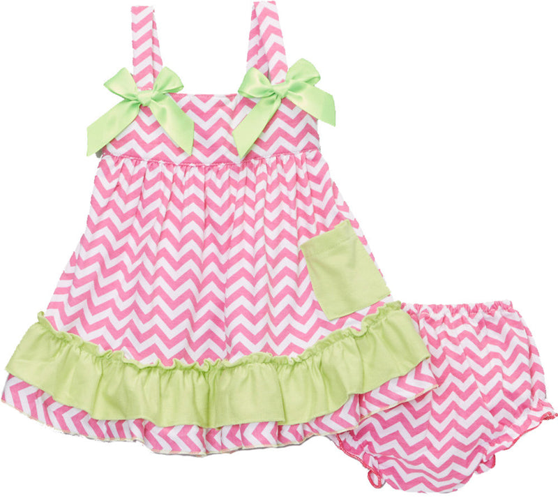 Hot Pink Lime Chevron  Swing Top Set