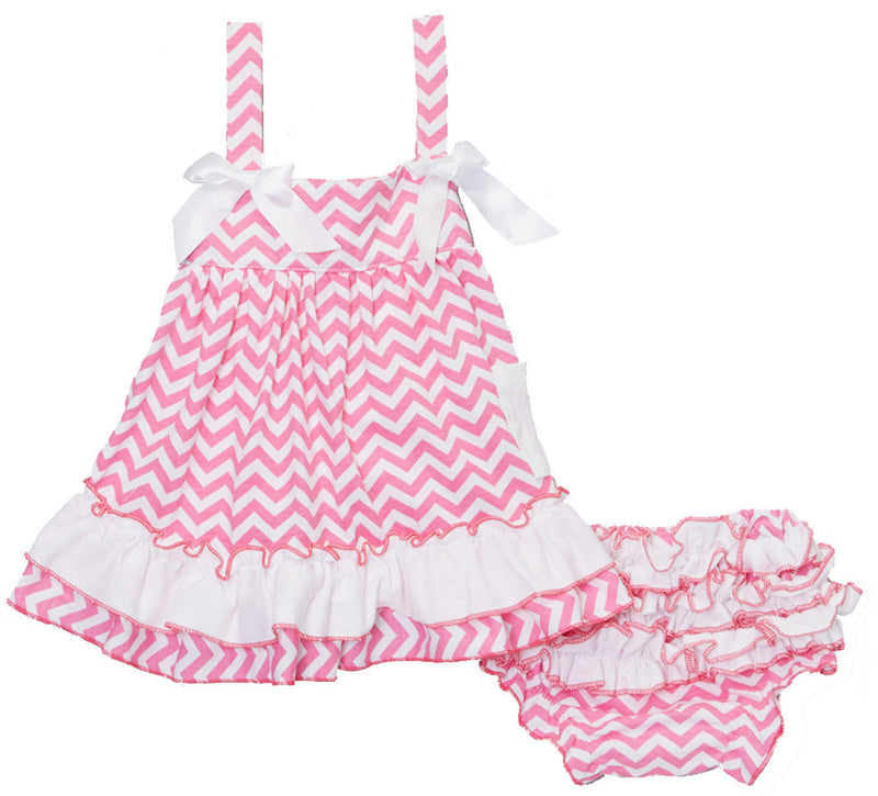 Pink White Chevron  Swing Top Set