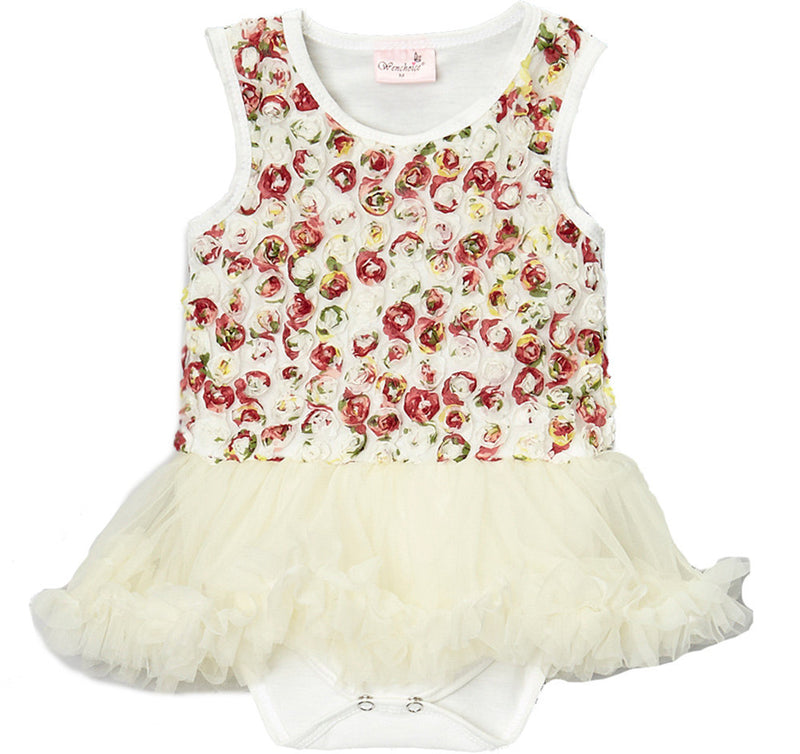 Ivory Multi Rose Bodysuit Attach Tutu