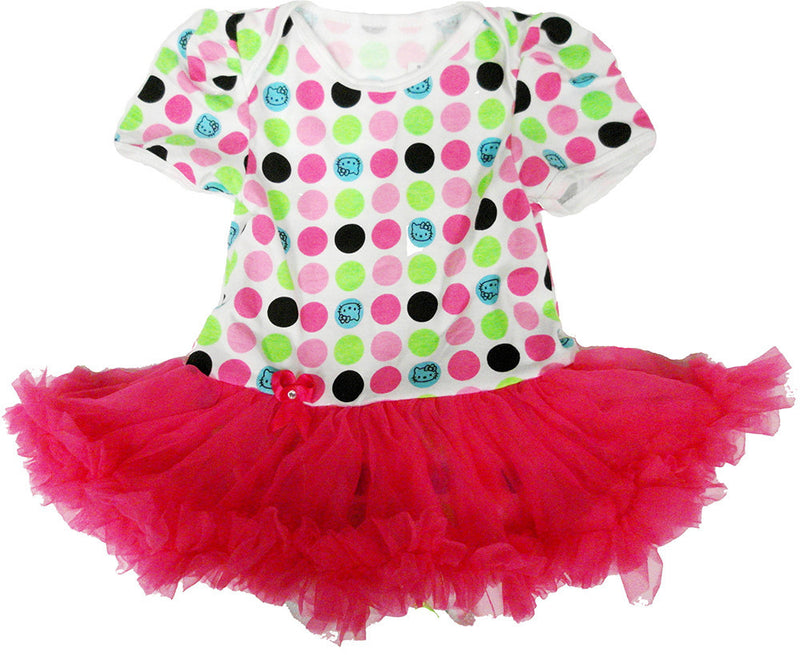 Multi Polka Dot Bodysuit With Hot Pink Tutu