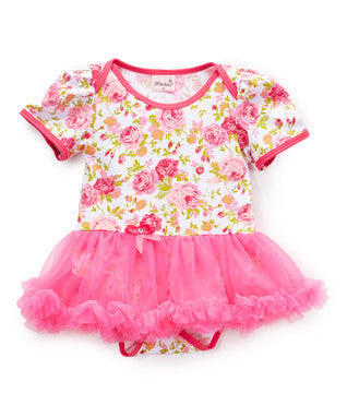 Rose Cotton Bodysuit With Hot Pink Tutu