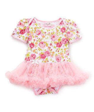 Rose Cotton Bodysuit With Pink Tutu
