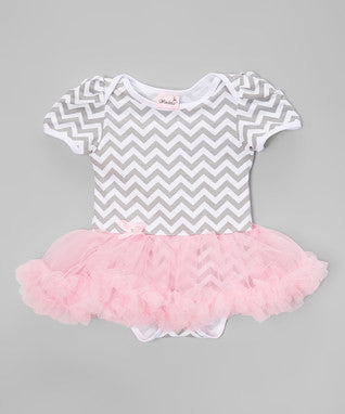 Gray Chevron Bodysuit With Pink Tutu