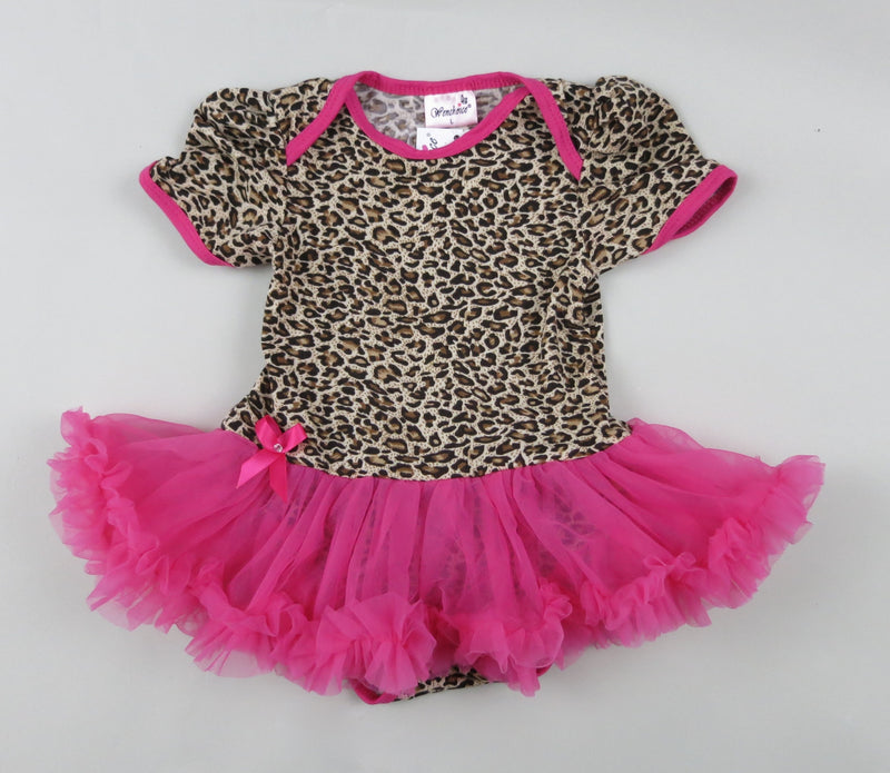 Leopard Bodysuit Attach Hot Pink Tutu