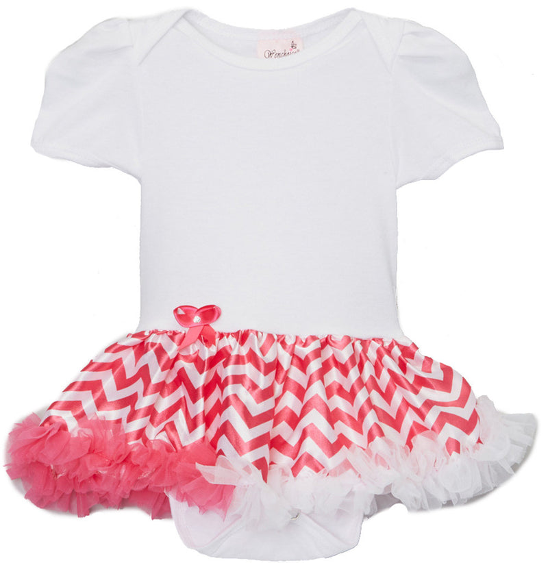 White Bodysuit With Hot Pink Chevron Tutu