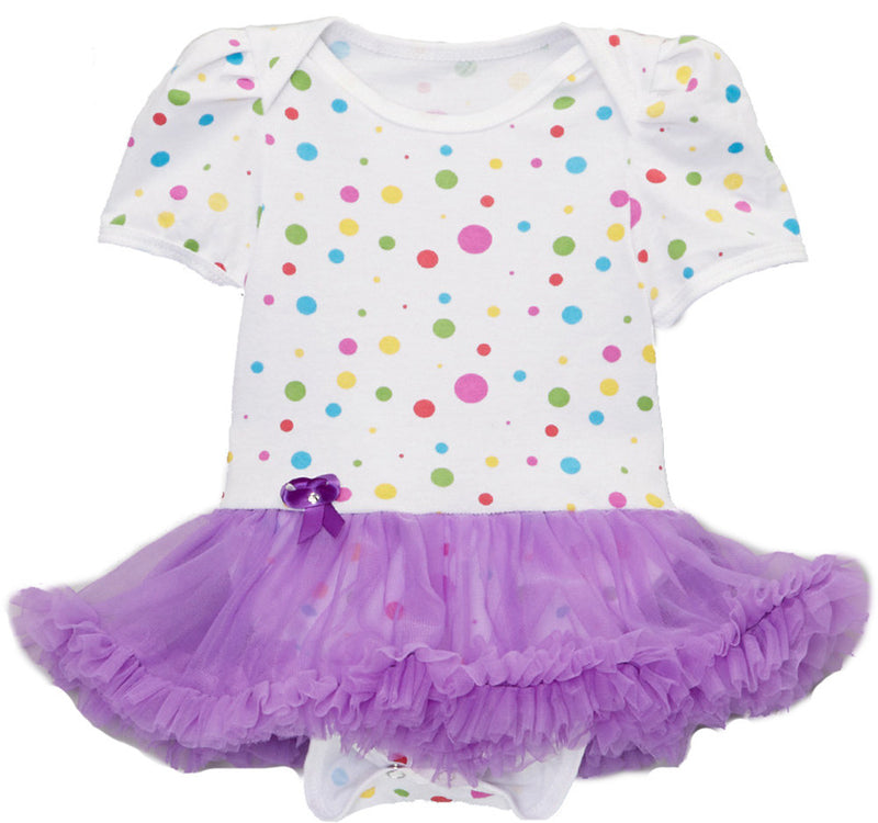 Multi Polka Dot Bodysuit With Purple Tutu