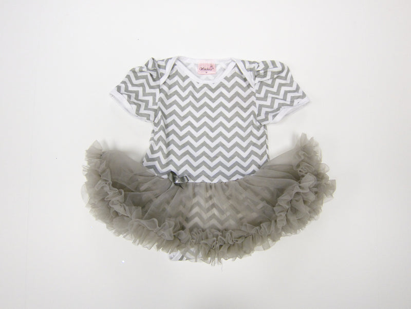 Grey Chevron Bodysuit Attach Tutu