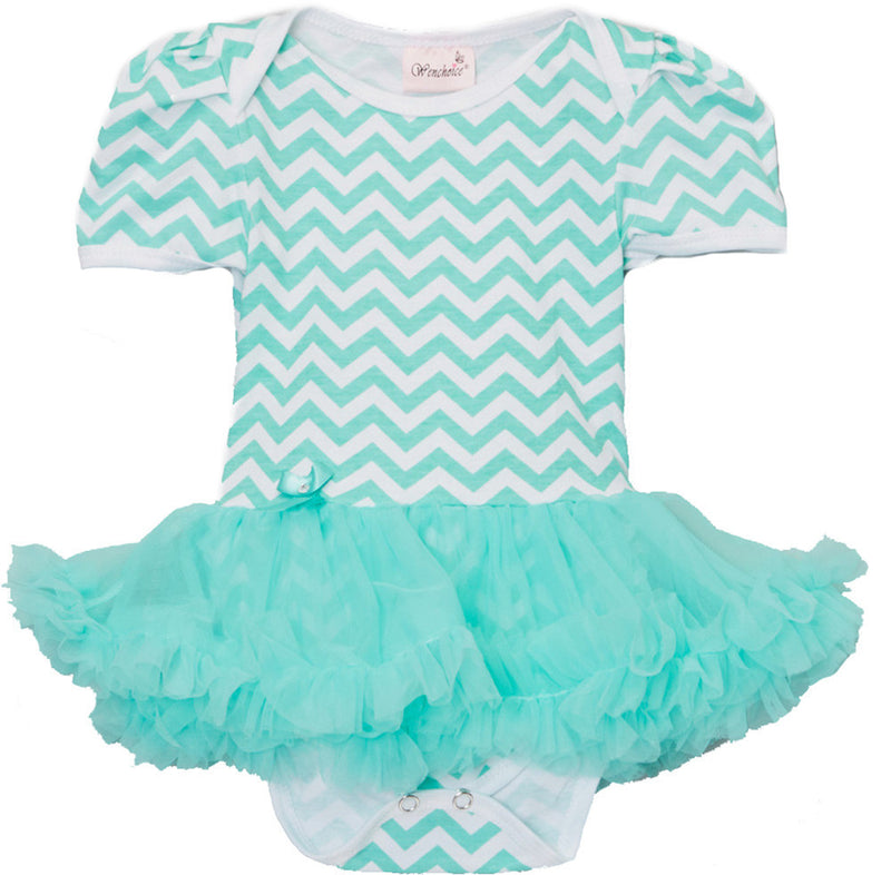 Green Chevron Bodysuit With Green Tutu