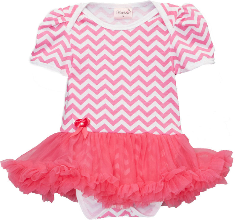 Hot Pink Chevron Bodysuit With Hot Pink Tutu