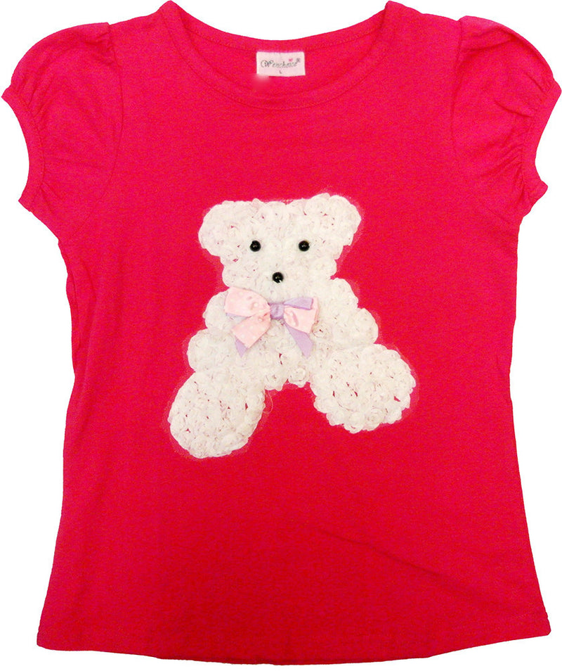 Hot Pink Short Sleeve Shirt With White Bear