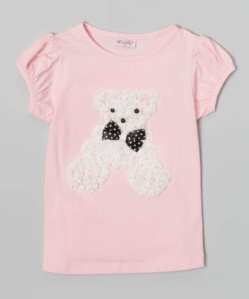 Pink Short Sleeve Shirt With White Bear