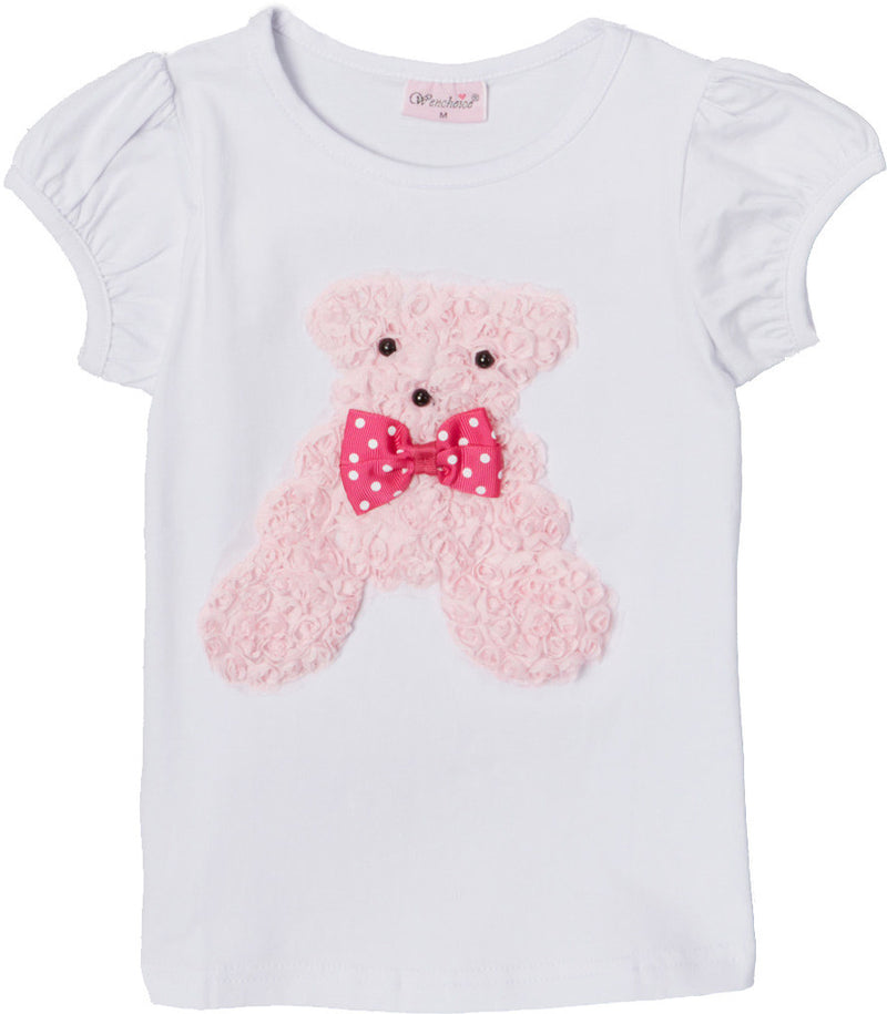 White Short Sleeve Shirt With White Bear
