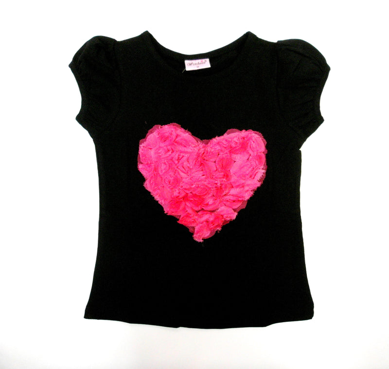 Black Short Sleeve Shirt With Rose Heart