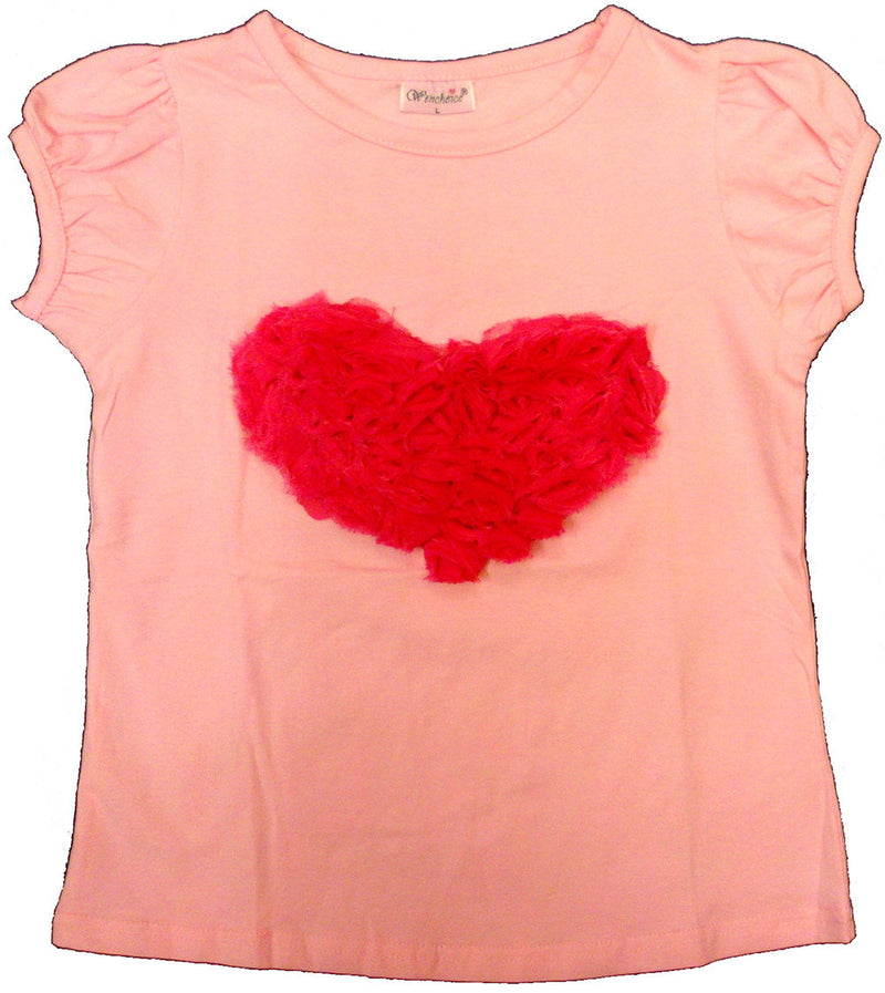 Pink Short Sleeve Shirt With Rose Heart