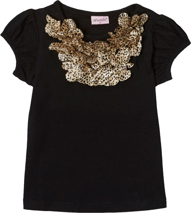 Black Short Sleeve Shirt With Leopard Trim