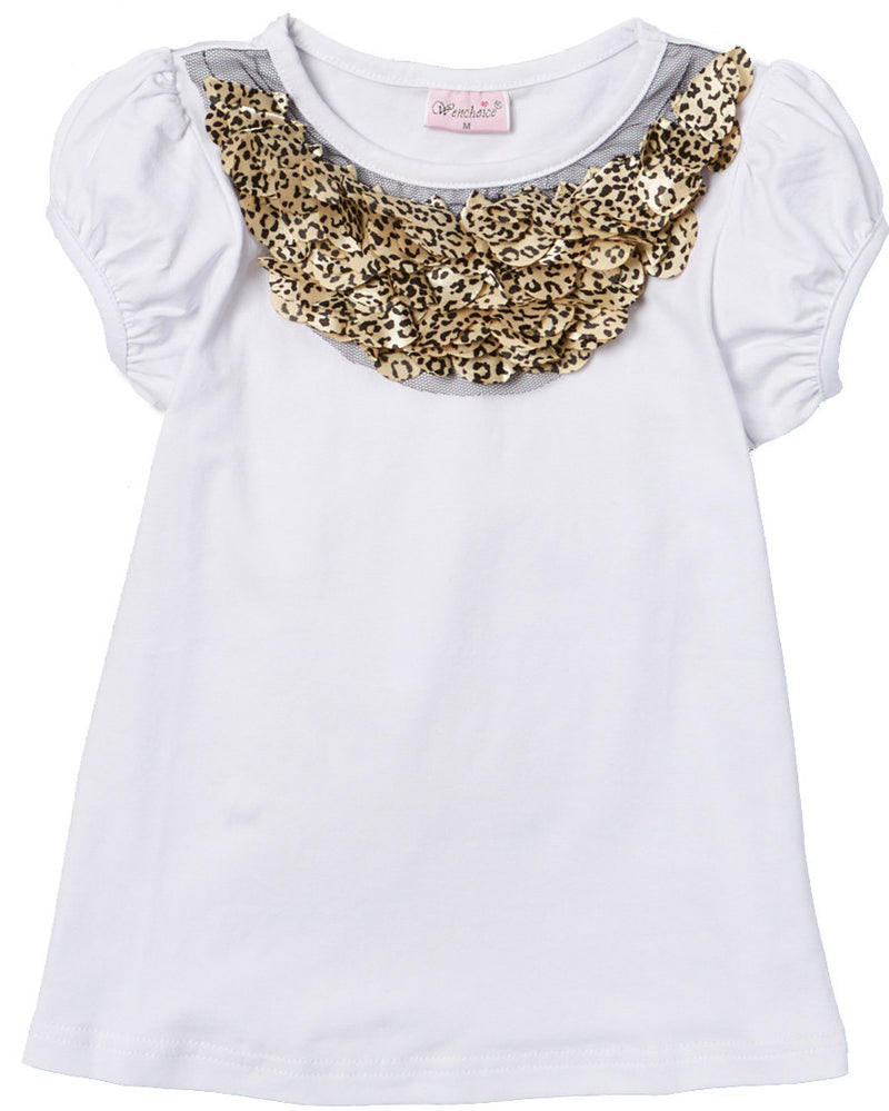 White Short Sleeve Shirt With Leopard Trim