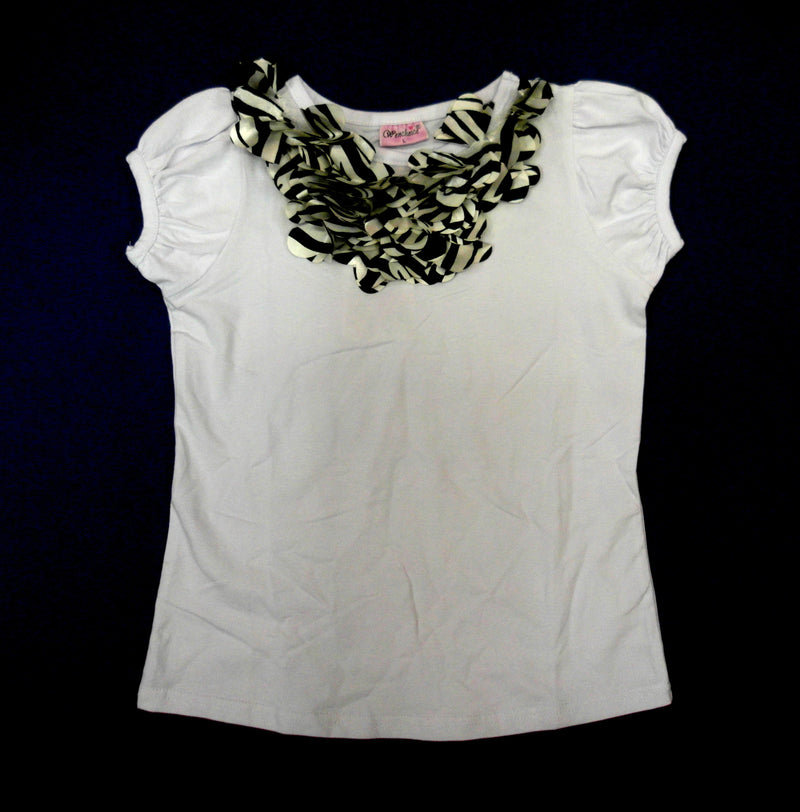 White Short Sleeve Shirt With Zebra Trim