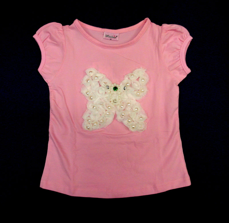 Pink Short Sleeve Shirt With Butterfly
