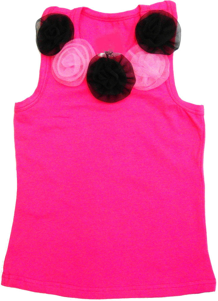 Hot Pink 5 Flower Tank Top
