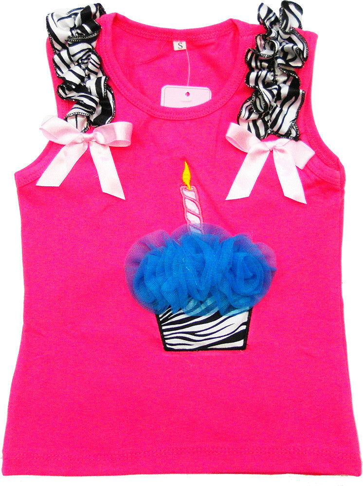 Hot Pink Zebra Cupcake Tank Top With Blue Flower
