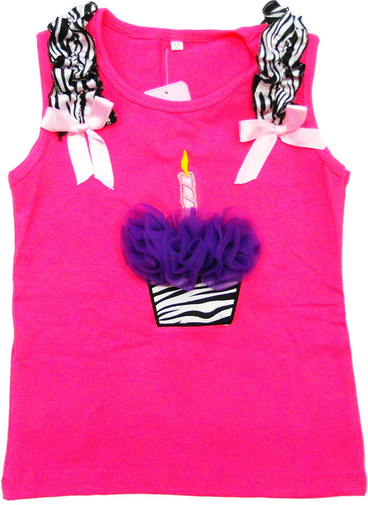 Hot Pink Zebra Cupcake Tank Top With Purple Flower