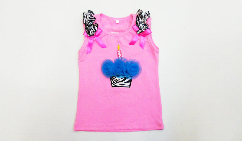 Pink Zebra Cupcake Tank Top With Blue Flower