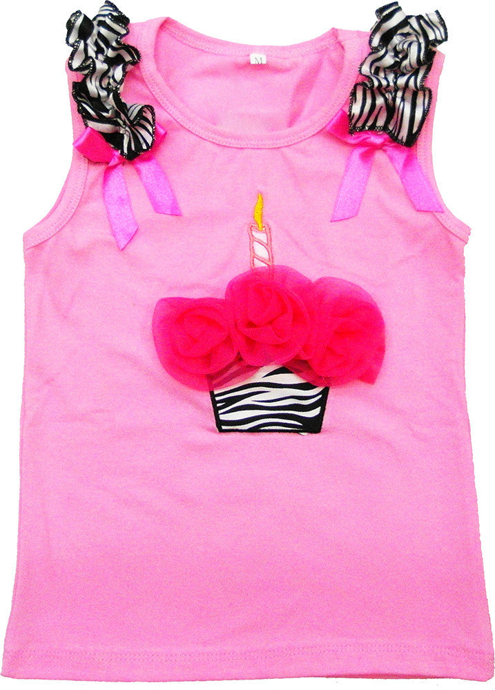 Pink Zebra Cupcake Tank Top With Hot Pink Flower