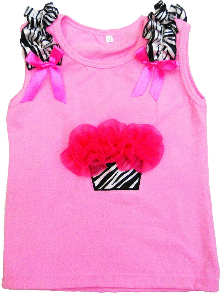 Pink Zebra Cupcake Tank Top Without Candle