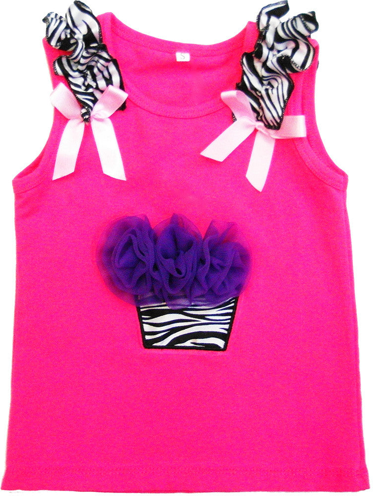 Hot Pink Zebra Cupcake Tank Top Without Candle