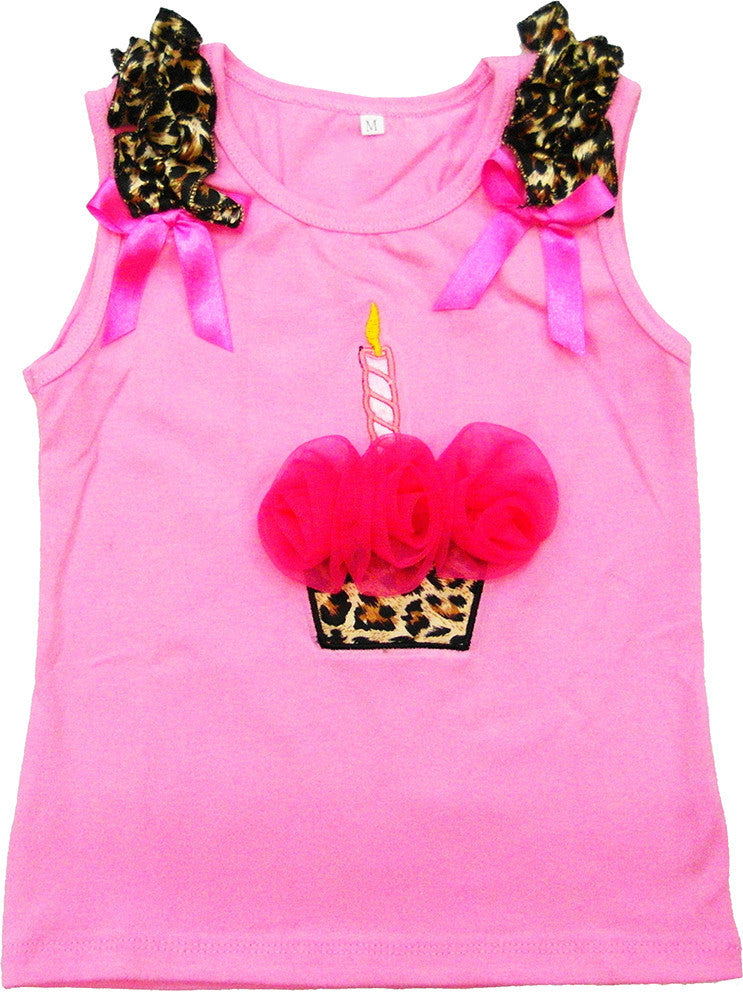 Pink Leopard Cupcake Tank Top With Hot Pink Flower